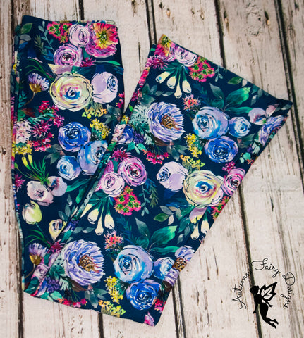 Water color roses yoga pants