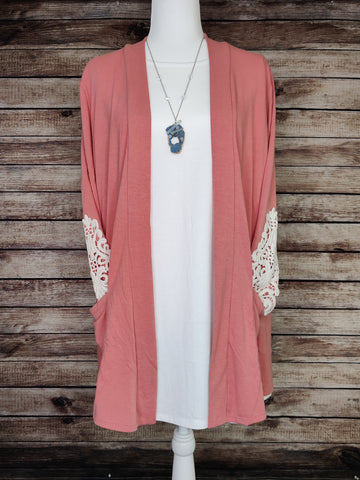 Mid Length Cardigan with Lace Detail