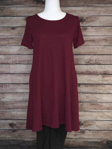 Swoop Neck Tunic Dress (Burgundy)