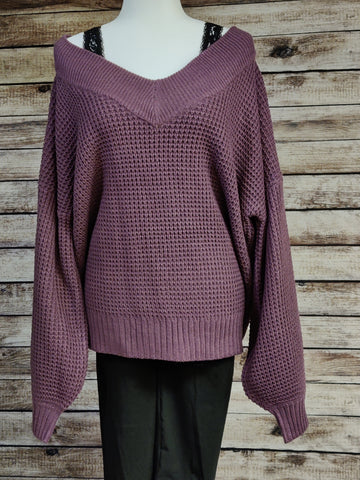 Off the Shoulder V-Neck Oversized Sweater (Eggplant)