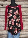 Red with Roses Raglan