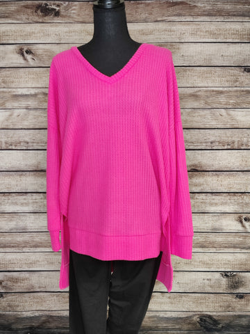 Tight Knit Waffle Sweater (Pink)