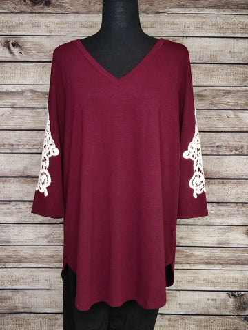 Maroon V-Neck with Lace Detail