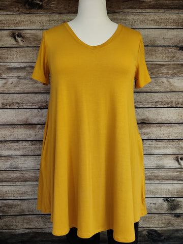 V-Neck Tunic with Pockets (Ash Mustard)