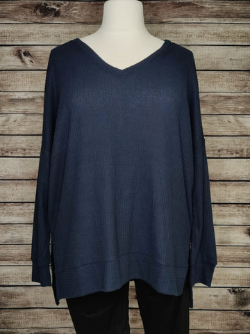Tight Knit Waffle Sweater (Midnight Navy)