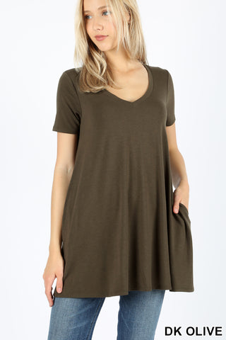 V-Neck Tunic with Pockets (Dark Olive)