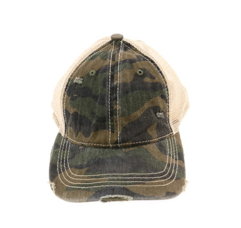 Camouflage Mesh Back High Pony CC Ball Cap