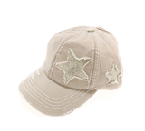 Distressed High Pony Cap with Glitter Star