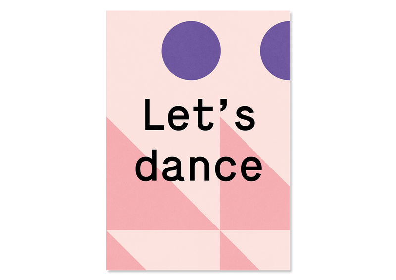 "Bunte Design Postkarte ""Let's dance"" — Kleine Prints"
