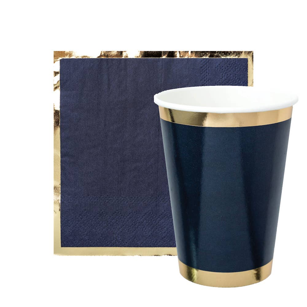 Navy and Gold Cocktail Napkins