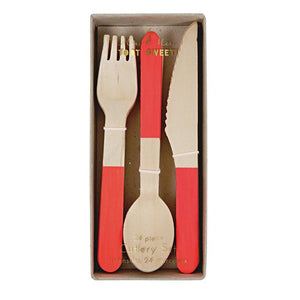 Red Wooden Cutlery Set