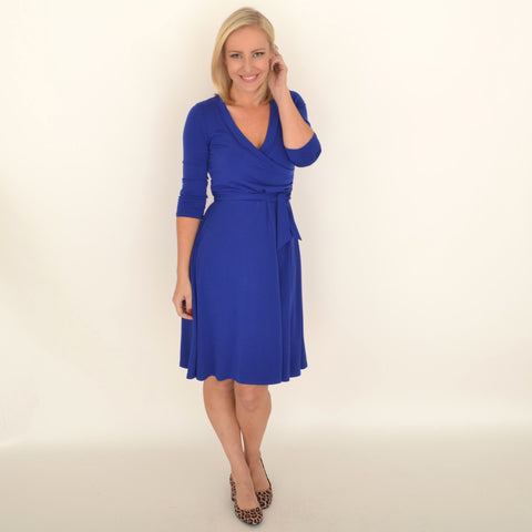 faux wrap 3/4 sleeve dress - royal