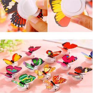 LED 3D Butterfly Wall Stickers Night Light Lamp Glowing Wall Decals Stickers House Decoration Home Party Desk Wall Decor
