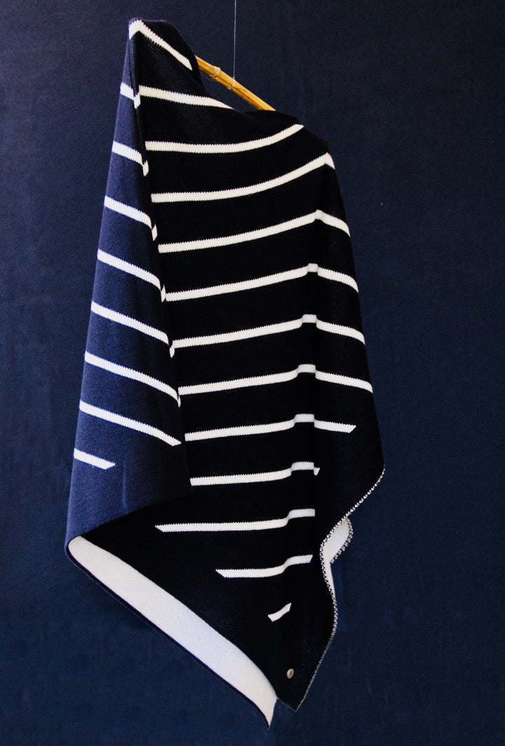 Jacquard striped poncho LET THEM TALK 100% virgin wool 🇫🇷