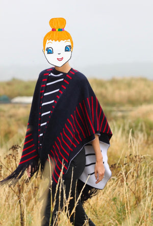 Sailor poncho with fringes 100% virgin wool 🇫🇷