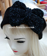 Knitted Bow Headband Oversized Bow Cute Cosy Kawaii Lolita Ear Warmer in Glitter Black and Blue