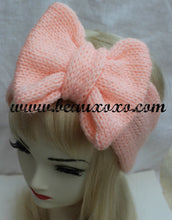 Knitted Bow Headband, Knitted Headband, Cute and Cosy Ear Warmer in Peach Apricot