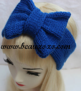 Knitted Bow Headband, Knitted Headband, Cute and Cosy Ear Warmer in Royal Blue