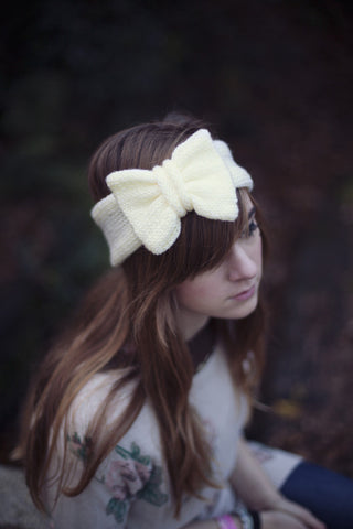 Knitted Bow Headband Oversized Bow Cute Cosy Kawaii Lolita Ear Warmer in Glitter Yellow Pastel