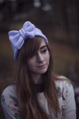 Knitted Bow Headband Oversized Bow Cute Cosy Kawaii Lolita Ear Warmer in Glitter Lilac Pastel