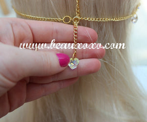 Chain Headpiece Chain Headdress Crystal Clear Swarovski Heart Hair Jewellery