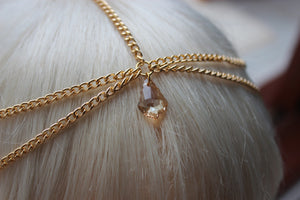 Baroque Chain Headpiece Chain Headdress Swarovski Crystal Golden Shadow Drop Hair Jewellery