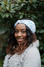 Blue Daisy Turban Headband, Floral Printed Twist Hairband, Floral Headwrap