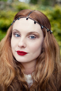 Chain Headpiece Chain Headdress Gothic Black Swarovski Heart Crystal Hair Jewellery