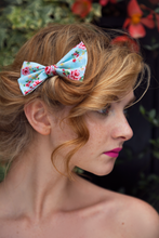 Twee Floral Rose Hair Bow, Garden Party Rose Floral Print Hair Clip- IN 2 SIZES