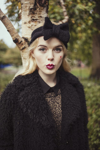 Knitted Bow Headband, Knitted Headband, Cute and Cosy Ear Warmer in Sparkly Glitter Black