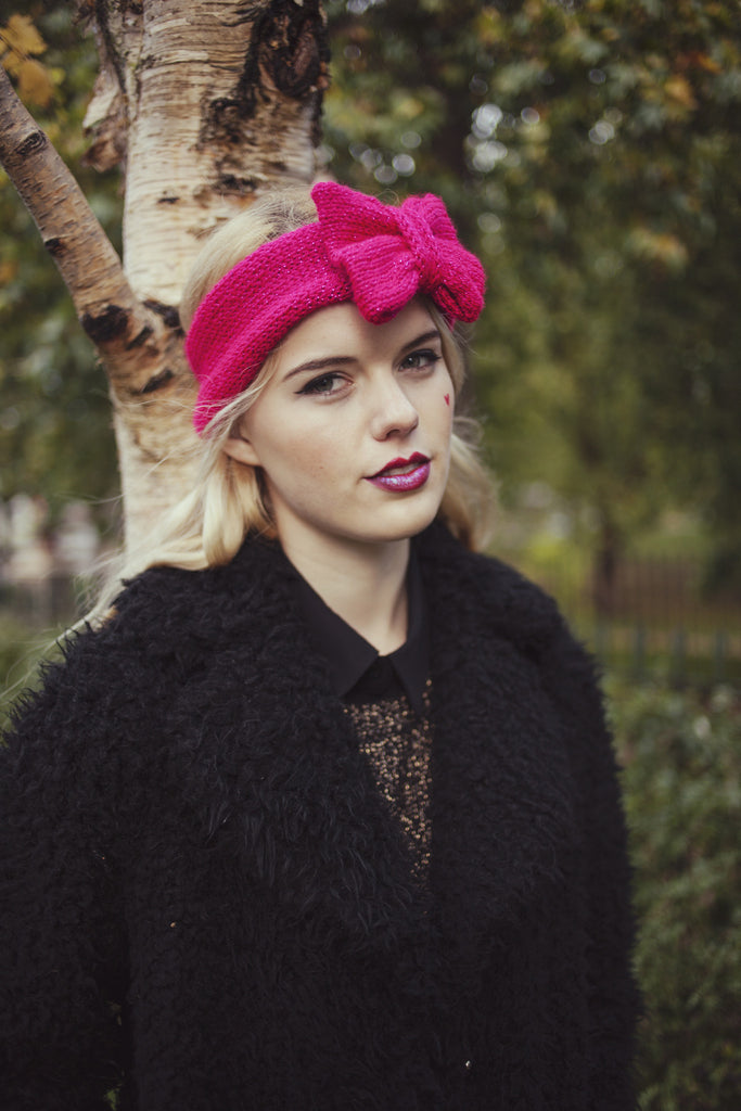 Knitted Bow Headband, Knitted Headband, Cute and Cosy Ear Warmer in Sparkly Glitter Hot Pink