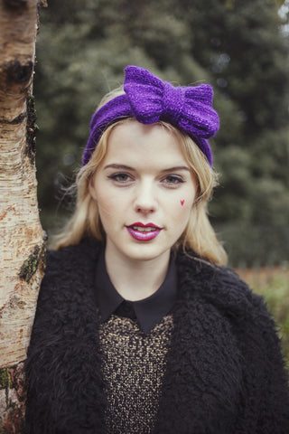 Knitted Bow Headband, Knitted Headband, Cute and Cosy Ear Warmer in Sparkly Glitter Purple