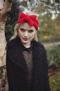 Knitted Bow Headband, Knitted Headband, Cute and Cosy Ear Warmer in Sparkly Glitter Christmas Red