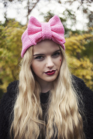 Knitted Bow Headband, Knitted Headband, Cute and Cosy Ear Warmer in Baby Pink
