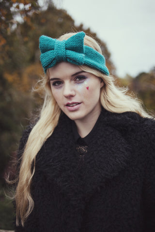 Knitted Bow Headband, Knitted Headband, Cute and Cosy Ear Warmer in Turquoise, Teal