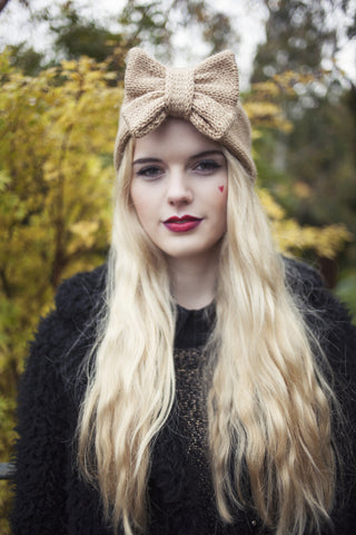Knitted Bow Headband, Knitted Headband, Cute and Cosy Ear Warmer in Camel Tan