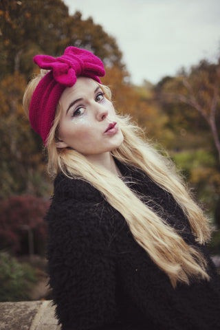 Knitted Bow Headband, Knitted Headband, Cute and Cosy Ear Warmer in Hot Pink
