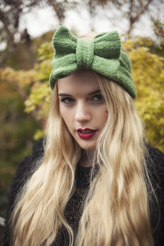 Knitted Bow Headband, Knitted Headband, Cute and Cosy Ear Warmer in Olive Green