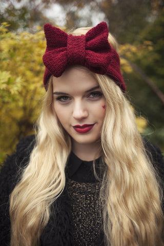 Knitted Bow Headband, Knitted Headband, Cute and Cosy Ear Warmer in Burgundy Ruby Red