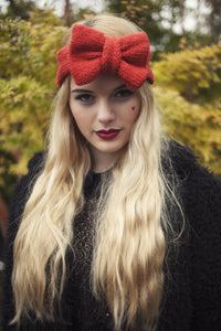 Knitted Bow Headband, Knitted Headband, Cute and Cosy Ear Warmer in Rust, Burnt Orange