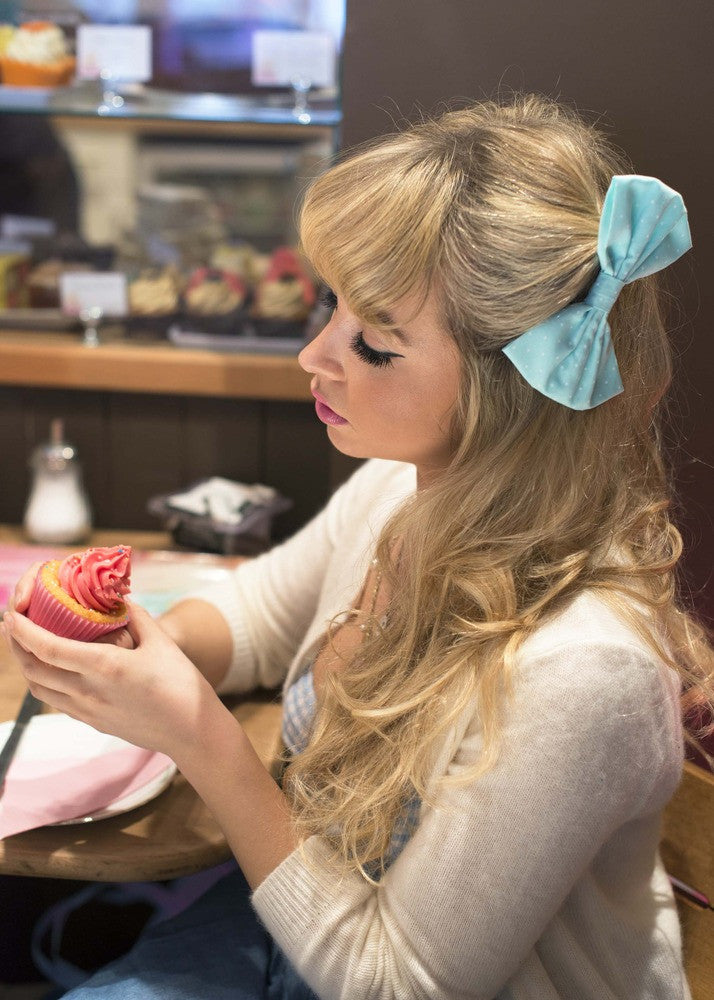 Pastel Polka Dot Hair Bows- MEDIUM  SIZE IN 7 COLOURS AVAILABLE- as seen on Jade from Little Mix!