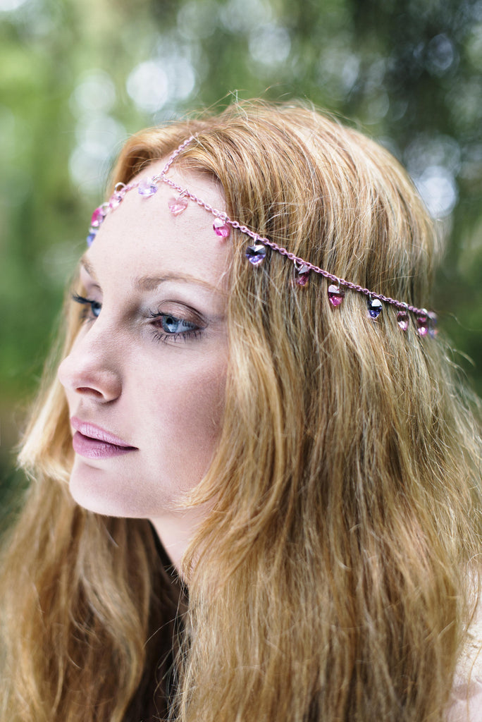 Lilac and Pink Heart Chain Headpiece, Chain Headdress, Princess Headpiece, Hair Jewelry