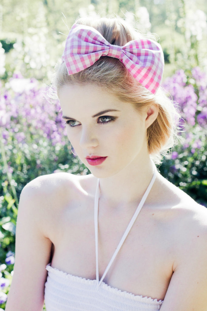 Oversized Gingham Fabric Bow Headband Rockabilly Pin Up girl- LOTS OF COLOURS