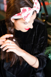 Santa's Grotto Christmas Bow Headband, Christmas Hair Band