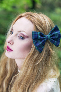 Tartan Hair Bow Clip, Green Tartan Hair Bow- IN 3 SIZES