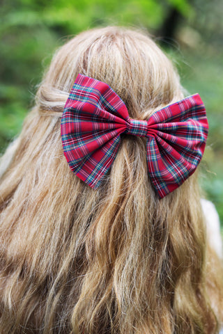 Tartan Hair Bow Clip, Red Tartan Hair Bow- IN 3 SIZES
