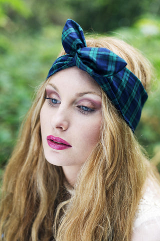 Tartan Wire Headband, Dolly Bow, Tartan Headband, 1950s Pin Up Rockabilly Hair Wrap- RED OR GREEN