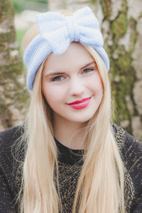 Glitter baby blue knitted headband