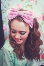 Flannel Bow Headband, Flannel Bow Hair Wrap, Boudoir Make Up Headband- IN 6 COLOURS