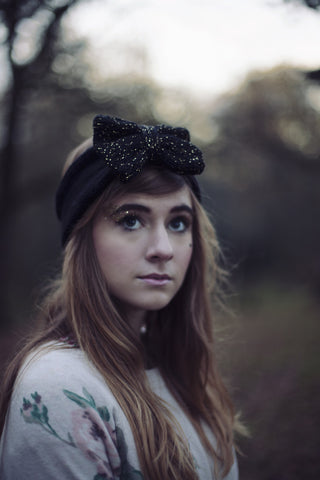Knitted Bow Headband Oversized Bow Cute Cosy Kawaii Lolita Ear Warmer in Glitter Black and Gold